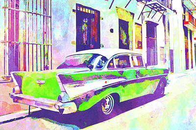 Muscle Mixed Media - Abstract Watercolor - Havana Cuba Classic Cadillac II by Chris Andruskiewicz