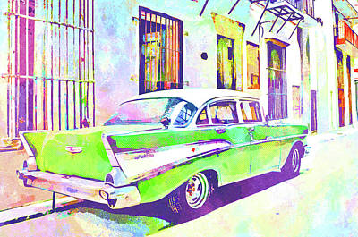 Cuban Mixed Media - Abstract Watercolor - Havana Cuba Classic Cadillac IIi by Chris Andruskiewicz