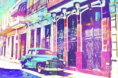 Cuban Mixed Media - Abstract Watercolor - Havana Cuba Classic Car II by Chris Andruskiewicz