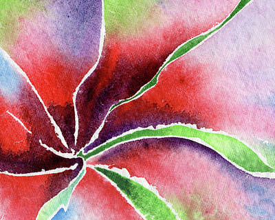 Lilies Royalty-Free and Rights-Managed Images - Abstract Watercolor Lily Flower by Irina Sztukowski