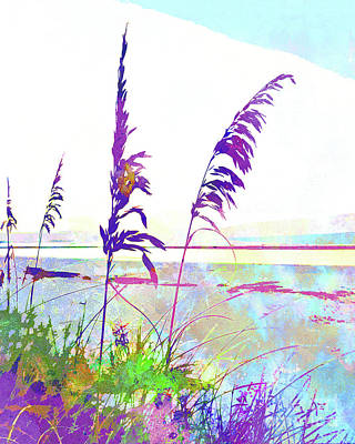 Abstract Seascape Mixed Media - Abstract Watercolor - Morning Sea Oats I by Chris Andruskiewicz