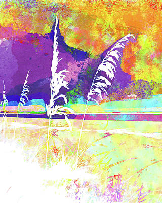 Abstract Seascape Mixed Media - Abstract Watercolor - Morning Sea Oats II by Chris Andruskiewicz