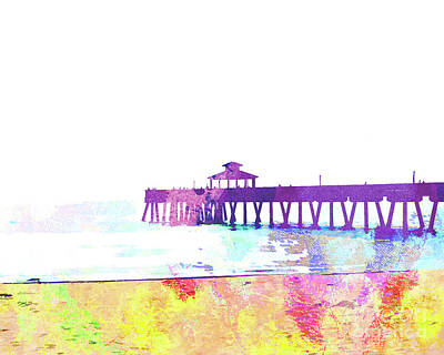 Island .oasis Mixed Media - Abstract Watercolor - Pier At Dusk by Chris Andruskiewicz