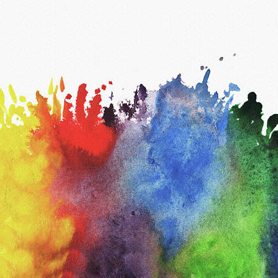 Painting -  Abstract Watercolor Rainbow Splash by Irina Sztukowski