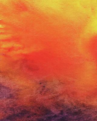 Painting - Abstract Watercolor Wash And Splash Hot Red Yellow by Irina Sztukowski