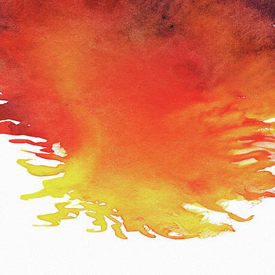 Painting - Abstract Watercolor Wash And Splash Hot Yellow And Red by Irina Sztukowski