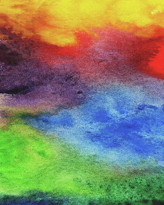 Royalty-Free and Rights-Managed Images - Abstract Watercolor Wash And Splash Rainbow Light by Irina Sztukowski