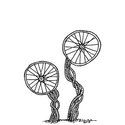 Ink Work Drawing - Abstract Wheels by Karl Addison