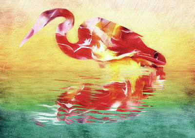 Stork Mixed Media - Abstract Whimsical Water Bird by Georgiana Romanovna