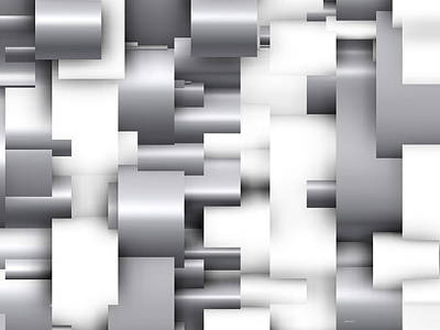 Abstract Geometric Digital Art - Abstract White And Grey by Alberto  RuiZ