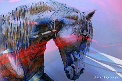 Painting - Abstract White Horse 10 by J- J- Espinoza