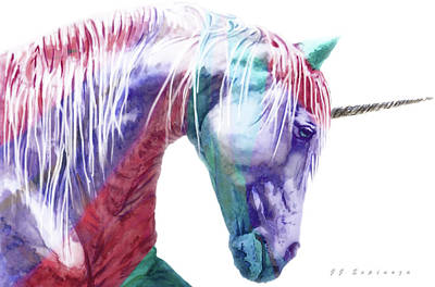 Painting - Abstract Unicorn   I I I by J- J- Espinoza