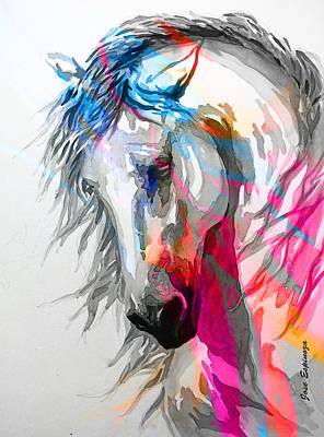 White Horse Watercolor Painting - Abstract White Horse 30 by J- J- Espinoza
