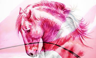 Painting - Abstract White Horse 42 by J- J- Espinoza
