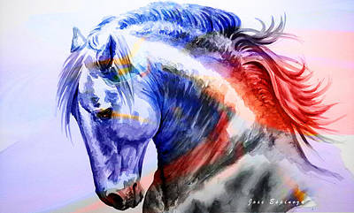 Art Print featuring the painting Abstract White Horse 44 by J- J- Espinoza