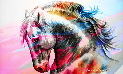 Art Print featuring the painting Abstract White Horse 45 by J- J- Espinoza