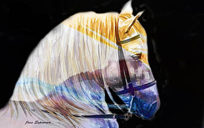 Art Print featuring the painting Abstract White Horse 50 by J- J- Espinoza