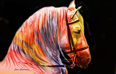 Art Print featuring the painting Abstract White Horse 52 by J- J- Espinoza