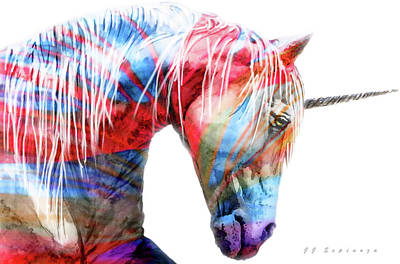Painting - Abstract Unicorn I by J- J- Espinoza