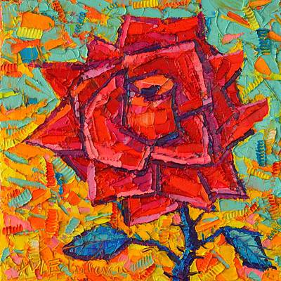 Abstract Wild Rose - Modern Impressionist Palette Knife Oil Painting By Ana Maria Edulescu Original by Ana Maria Edulescu