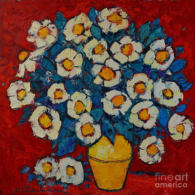 Bouquets Of Pink Flowers Green Blue Painting - Abstract Wild White Roses Original Oil Painting by Ana Maria Edulescu