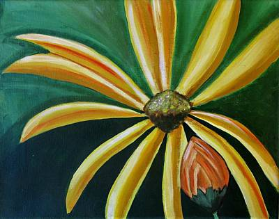 Painting - Abstract Yellow Sunflower Art Floral Painting by Ai P Nilson