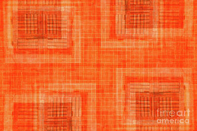 Abstract Digital Art Photograph - Abstract Window On Orange Wall by Silvia Ganora