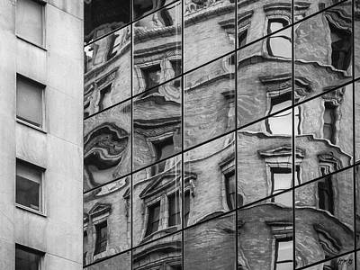 Photograph - Abstract Window Reflections - Nyc II Bw by David Gordon