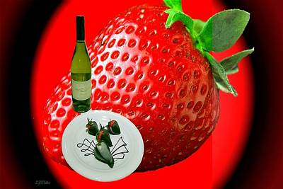Abstract Wine And Strawberries Art Print by Lj White