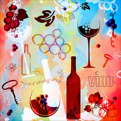 Glass Of Wine Digital Art - Abstract Wine Art by Serena King