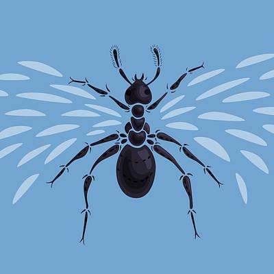Digital Art - Abstract Winged Ant by Boriana Giormova