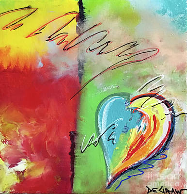 Painting - Abstract With Heart by Cindy DeGraw