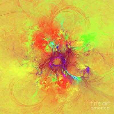Abstract Digital Digital Art - Abstract With Yellow by Deborah Benoit