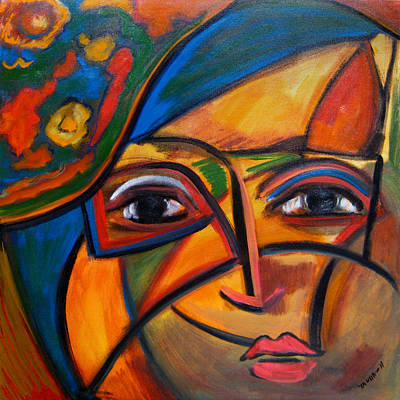 Painting - Abstract Woman With Flower Hat by Katt Yanda
