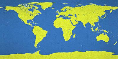Mixed Media - Abstract World Map 0317 by Bob Orsillo