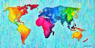 Map Painting - Abstract World Map 10 - Pa by Leonardo Digenio