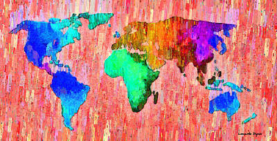 Global Painting - Abstract World Map 11 - Pa by Leonardo Digenio