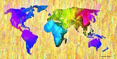 Atlantic Ocean Digital Art - Abstract World Map 12 - Da by Leonardo Digenio