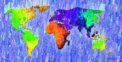 Border Digital Art - Abstract World Map 13 - Da by Leonardo Digenio