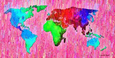North America Digital Art - Abstract World Map 14 - Da by Leonardo Digenio