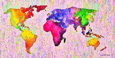 Color Digital Art - Abstract World Map 18 - Da by Leonardo Digenio