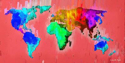 Ocean Digital Art - Abstract World Map 2 - Da by Leonardo Digenio