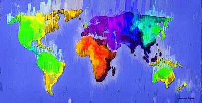 Borders Painting - Abstract World Map 3 - Pa by Leonardo Digenio