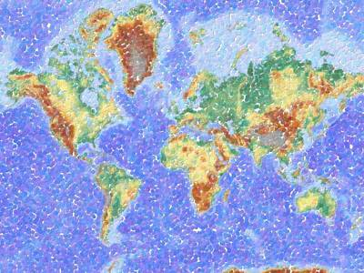 Abstract World Map Painting - Abstract World Map Aboriginal Dotted Style by Celestial Images