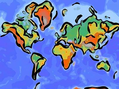 Abstract World Map Painting - Abstract World Map by Celestial Images