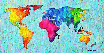 South Digital Art - Abstract World Map Colorful 50 - Da by Leonardo Digenio