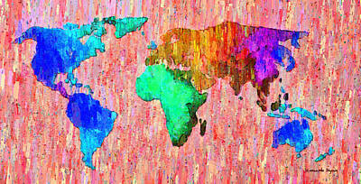 South America Digital Art - Abstract World Map Colorful 51 - Da by Leonardo Digenio