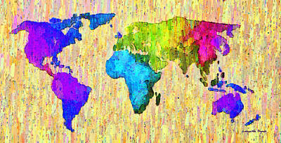 South America Digital Art - Abstract World Map Colorful 52 - Da by Leonardo Digenio
