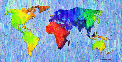 Abstract World Map Colorful 53 - Da Art Print by Leonardo Digenio