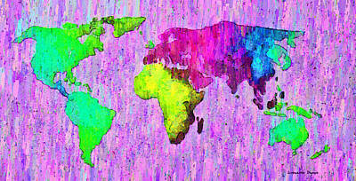 Wallpaper Painting - Abstract World Map Colorful 54 - Pa by Leonardo Digenio